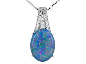Mutlicolor Coober Pedy Opal Triplet Sterling Silver Pendant 1.18ctw