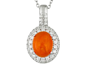 Orange Ethiopian Opal Sterling Silver Pendant With Chain. 1.93ctw