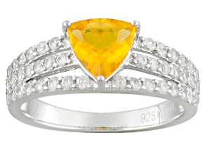 Orange Mexican Fire Opal And White Zircon Sterling Silver Ring 1.41ctw