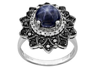 Blue Star Sapphire Sterling Silver Ring 3.53ctw