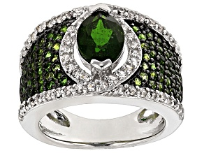 Green Chrome Diopside And White Zircon Sterling Silver Ring 2.89ctw