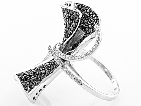 Black Spinel Sterling Silver Ring 2.48ctw