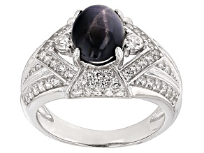 Blue Star Sapphire Sterling Silver Ring 2.91ctw