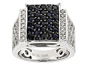 Blue Sapphire Sterling Silver Ring 2.80ctw