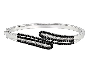 Black Spinel Sterling Silver Bypass Bangle Bracelet 3.35ctw