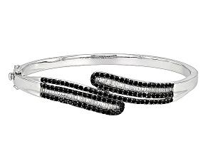Black Spinel Sterling Silver Bypass Bangle Bracelet 3.35ctw