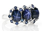 Blue Star Sapphire Rhodium Over Sterling Silver Ring 6.95ctw