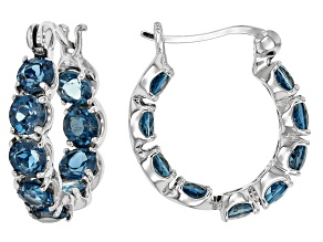 London Blue Topaz Rhodium Over Sterling Silver Hoop Earrings 4.59ctw
