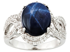 Blue Star Sapphire Sterling Silver Ring 6.20ctw