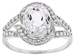 Pink Kunzite And White Zircon Sterling Silver Ring. 4.18ctw