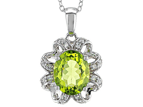 Green Peridot Sterling Silver Pendant With Chain 2.37ctw