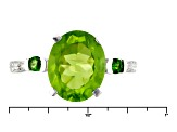 Green Peridot Sterling Silver Ring 3.09ctw