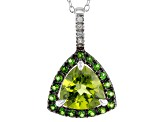 Green Peridot Sterling Silver Pendant With Chain 2.17ctw