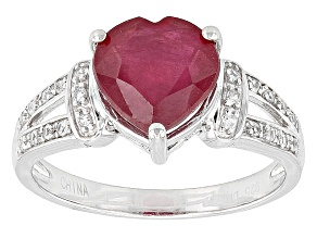 Mahaleo Ruby Sterling Silver Ring 2.92ctw