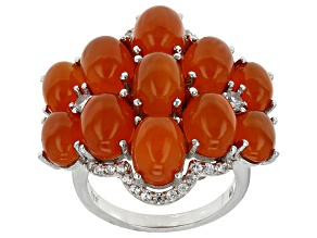 Orange Carnelian And White Zircon Sterling Silver Cluster Ring .51ctw