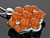 Orange Carnelian And White Zircon Sterling Silver Pendant With Chain .51ctw