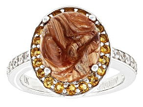 Brown Mexican Opal Sterling Silver Ring 2.60ctw