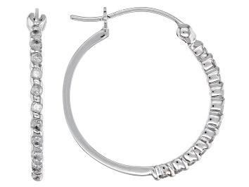 Picture of White Diamond 10k White Gold Hoop Earrings 0.25ctw