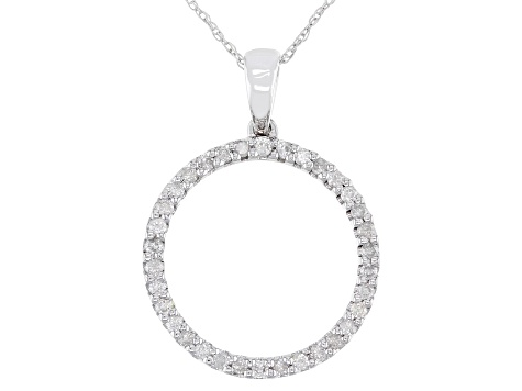 "White Diamond 10k White Gold Circle Pendant with 18"" Rope Chain 0.34ctw"