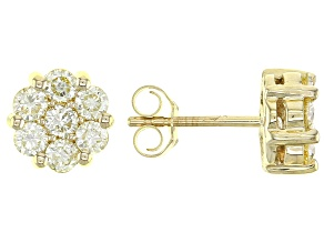Natural Yellow Diamond 10k Yellow Gold Cluster Stud Earrings 1.00ctw