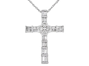 "White Diamond 10k White Gold Cross Slide Pendant With 18"" Rope Chain 0.25ctw"