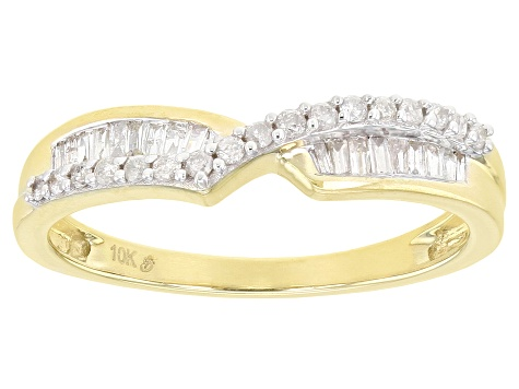 White Diamond 10k Yellow Gold Crossover Band Ring 0.25ctw