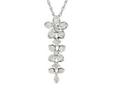 "White Diamond 10k White Gold Dangle Pendant With 18"" Rope Chain 0.50ctw"