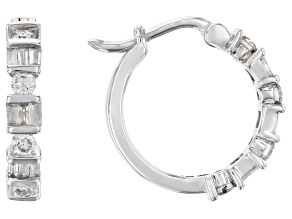 White Diamond 10K White Gold Hoop Earrings 0.50ctw