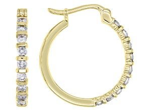 White Diamond 10K Yellow Gold Hoop Earrings 0.50ctw
