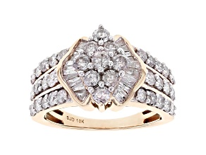 White Diamond 10k Yellow Gold Cluster Ring 1.90ctw