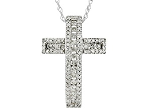 "White Diamond 10k White Gold Cross Pendant With 18"" Rope Chain 0.50ctw"