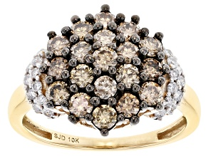 Champagne And White Diamond 10k Yellow Gold Cluster Ring 1.55ctw