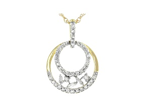 "White Diamond 10k Yellow Gold Circle Pendant With 18"" Rope Chain 0.20ctw"