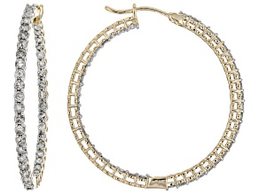 White Diamond 10k Yellow Gold Inside-Outside Hoop Earrings 2.75ctw