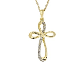 "White Diamond 10k Yellow Gold Cross Pendant With 18"" Rope Chain 0.10ctw"