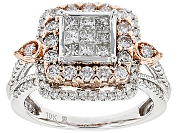 Picture of White Diamond 10k White And Rose Gold Quad Ring 1.50ctw