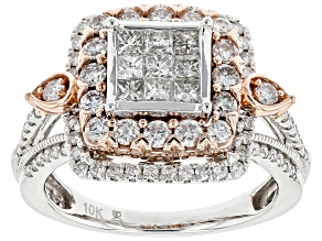 White Diamond 10k White And Rose Gold Quad Ring 1.50ctw