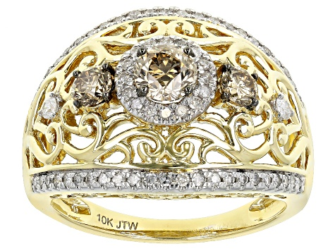Champagne And White Diamond 10k Yellow Gold 3-Stone Cocktail Ring 1.25ctw