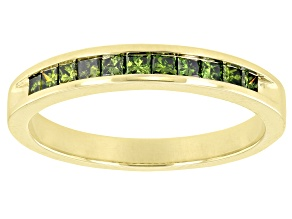 Green Diamond 10k Yellow Gold Band Ring 0.50ctw
