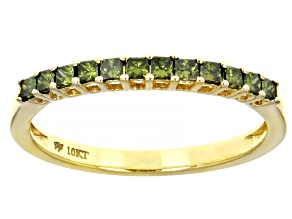Green Diamond 10k Yellow Gold Band Ring 0.33ctw