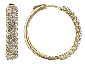 Diamond 10k Yellow Gold Hoop Earrings 1.50ctw
