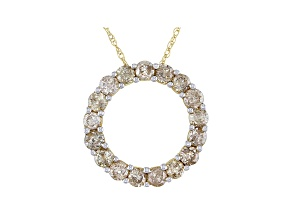 "Diamond 10k Yellow Gold Circle Pendant With 18"" Rope Chain 1.00ctw"