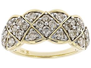 Diamond 10k Yellow Gold Wide Band Ring 1.00ctw