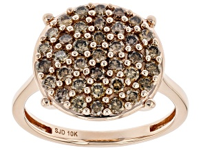Champagne Diamond 10k Rose Gold Cluster Ring 0.95ctw