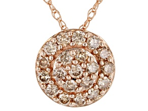 "Champagne Diamond 10k Rose Gold Cluster Pendant With 18"" Rope Chain 0.50ctw"
