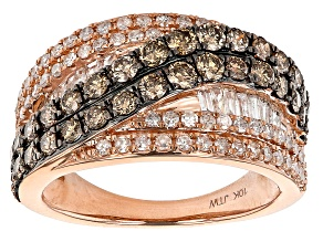Champagne And White Diamond 10k Rose Gold Wide Band Ring 1.75ctw