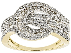 White Diamond 10k Yellow Gold Crossover Band Ring 1.00ctw