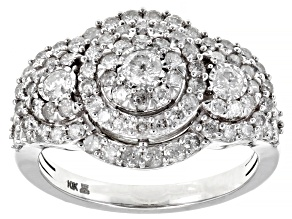 White Diamond 10k White Gold Cluster Ring 1.50ctw