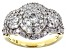 White Diamond 10k Yellow Gold Cluster Ring 1.50ctw