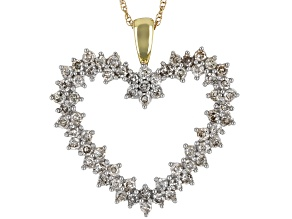 "Diamond 10k Yellow Gold Heart Pendant With 18"" Rope Chain 1.00ctw"